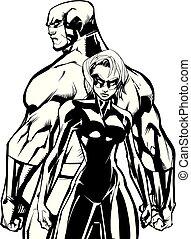 Superhero Couple Back to Back No Capes Line Art