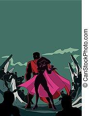 Superhero Couple Back to Back Silhouette