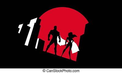 Superhero Couple Background Symbol Animation
