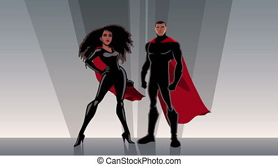 Superhero Couple Black - Male and female black superheroes...