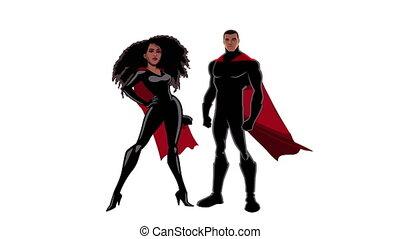 Superhero Couple Black on White - Male and female black...