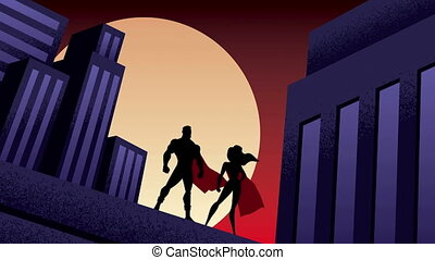 Superhero Couple City Night Animation