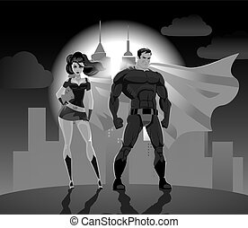 Superhero Couple: Male and female superheroes, posing in...