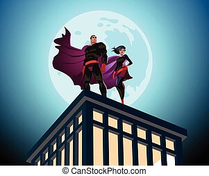 Superhero Couple. Male and female superheroes. Cloudy sky....