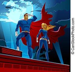 Superhero Couple. Male and female superheroes. Cloudy sky. Vector illustration