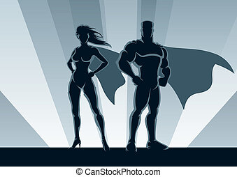 Superhero Couple - Male and female superheroes, posing in...