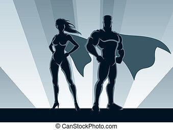 Superhero Couple - Male and female superheroes, posing in...