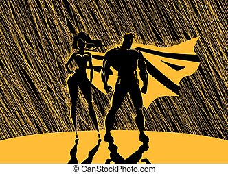 Superhero Couple: Male and female superheroes, posing in front of a light.