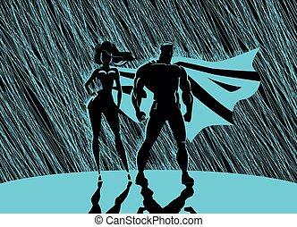 superhero, couple:, maschio femmina, superheroes, proposta, davanti, uno, light., pioggia, fondo.