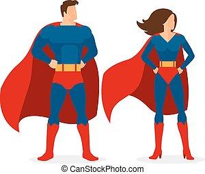 Superhero Couple of Flat Superman and Superwoman - Superhero...