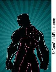 Superhero Couple Ray Light Vertical Silhouette