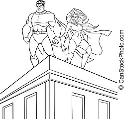 Superhero Couple Roof Watch Line Art