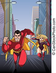 Superhero Couple Running Hero Leads