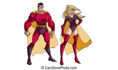 Superhero Couple Standing on White - Animation of happy and...