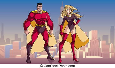 Animation of happy and smiling superhero couple, standing tall on rooftop above the city.