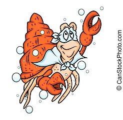 Superhero Crab Character Vector Illustration