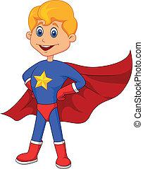 superhero, criança, caricatura