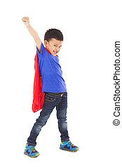 superhero, criança, fazer, um, engraçado, expressão facial