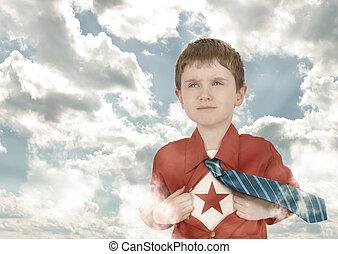 superhero, criança menino, com, camisa aberta, e, nuvens