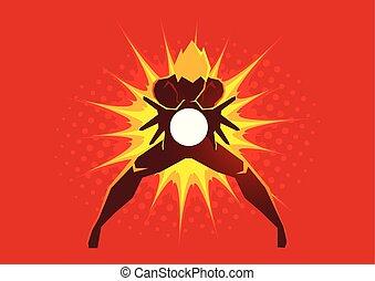 superhero, criando, um, energia, explosão, através, seu, mãos