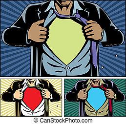 superhero, cubierta, debajo