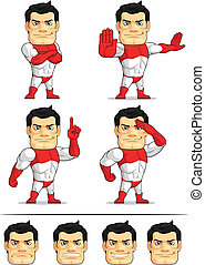 Superhero Customizable Mascot 4 - A customizable vector set...