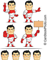 Superhero Customizable Mascot 7 - A customizable vector set...