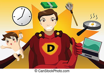 Superhero dad concept - A vector illustration of superhero...