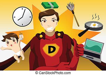 Superhero dad concept - A vector illustration of superhero...