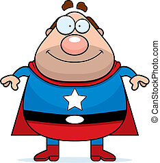 Superhero Dad - A happy cartoon dad dressed as a superhero.