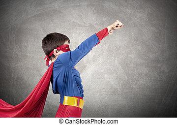 superhero, disfraz, niño