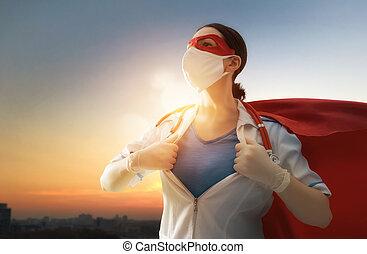 superhero, doctor, llevando, capa, facemask