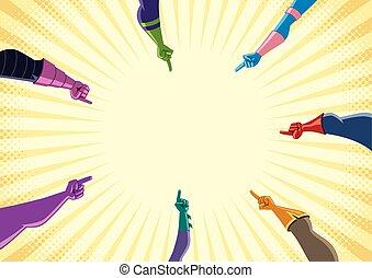 superhero, doigts, pointage, mains