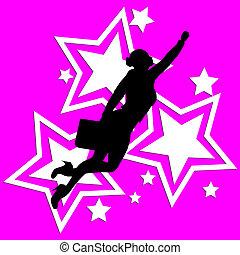 superhero, donna, arte, affari, pop