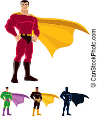 Superhero over white background. Below are 3 additional...