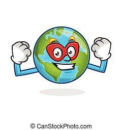 Superhero earth mascot, superhero earth character, earth cartoon vector