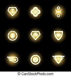 Superhero emblem, logo or icons on black backdrop
