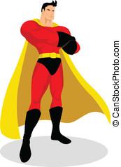 superhero, en, valeroso, postura