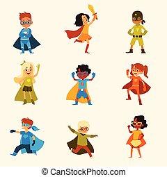 superhero, estilo, caricatura, niños, conjunto, trajes, caracteres, colorido