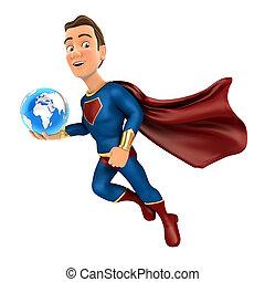 superhero, földdel feltölt, birtok, repülés, kék, 3
