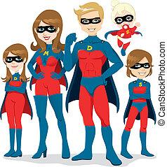 superhero, família, traje