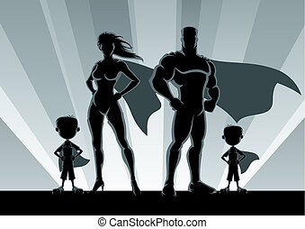 superhero, famiglia, 2 ragazzi