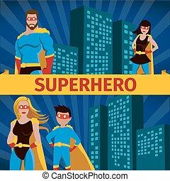superhero, famiglia, appartamento, bandiera, set
