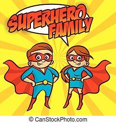 superhero, famiglia, carattere, illustrazione, vettore, cartone animato, superheroes