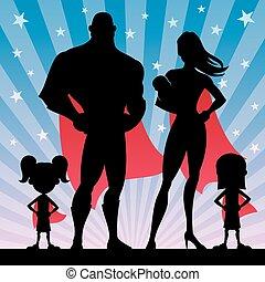 superhero, famiglia, con, 2 ragazze, e, bambino