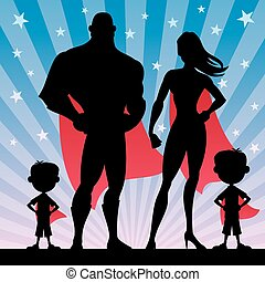 Square banner of superhero family with 2 boys.