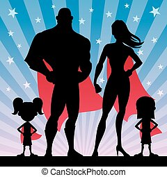 Superhero Family Girls - Square banner of superhero family...