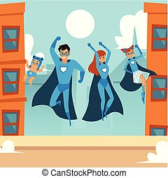 Superhero family - happy cartoon couple with daughter and baby in super hero costume