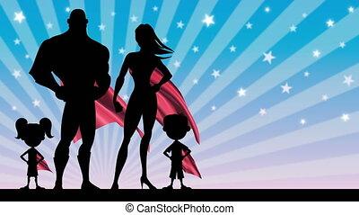 Superhero Family - Looping animation of superhero family...