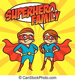 Superhero Family Superheroes Cartoon character Vector illustration